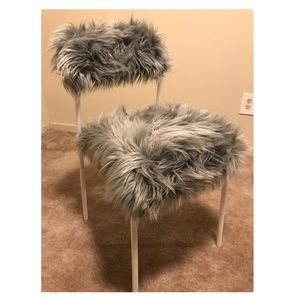 Grey & White Faux Fur Chair